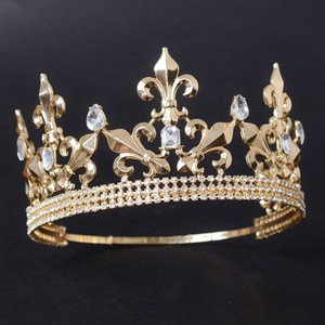 King Prince Clear Stones Crystal Crowns Pageant Prom Tiaras Party Accessories Men Headpiece