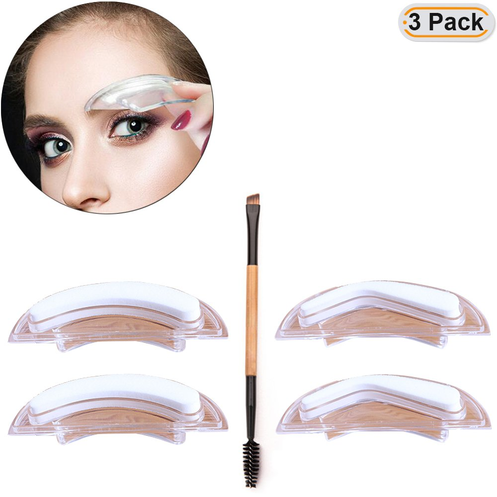 Get Quotations Hisight 2 Pairs Eyebrow Stencils Stamp Sponge Perfect Shaping Tools Eyebrows Template Makeup Shapein