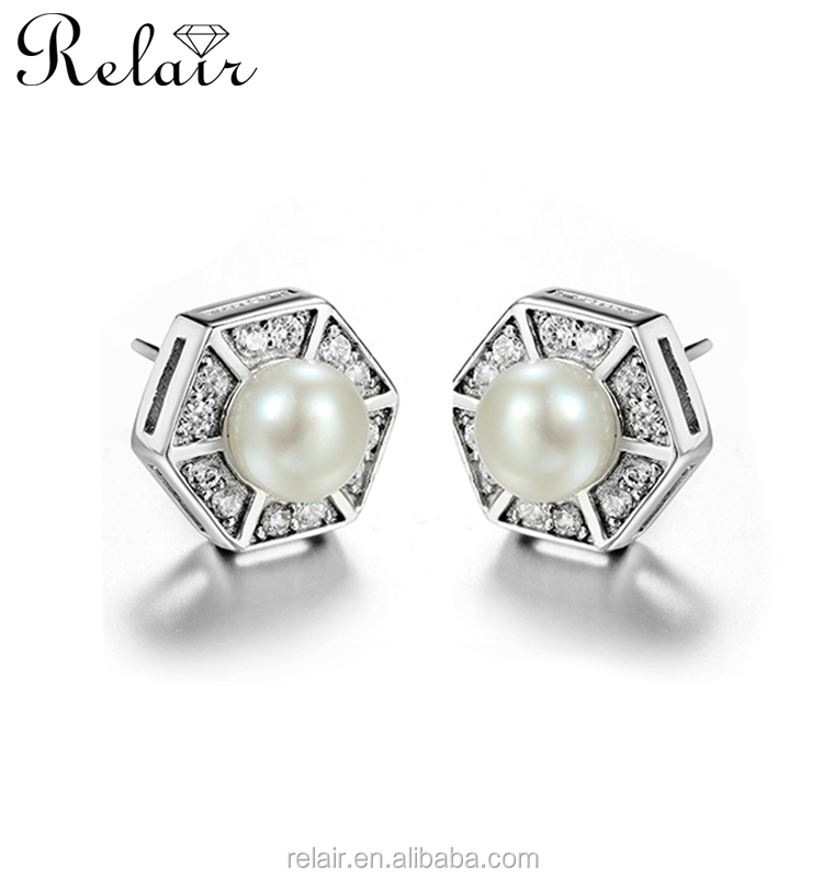 Dubai 24k rhodium plated silver earring stud jewelry 925 silver pearl earrings women jewellery
