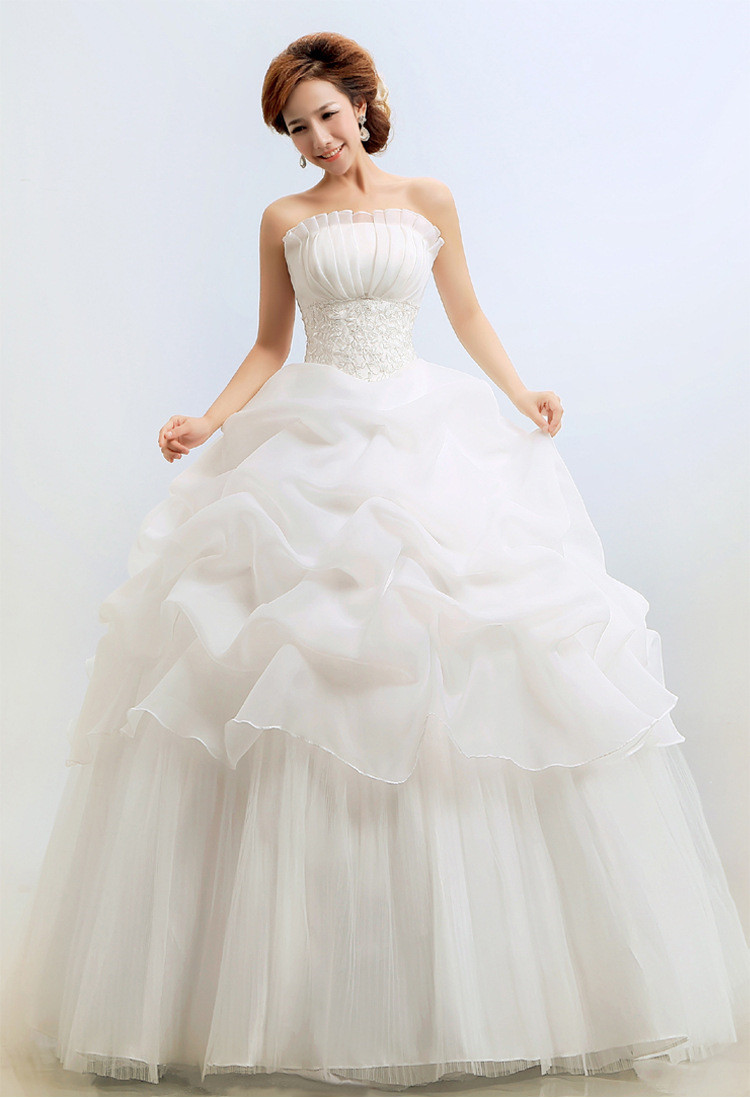 Hot Selling Korean Style Strapless Red Ball Gown New Style Bridal ...