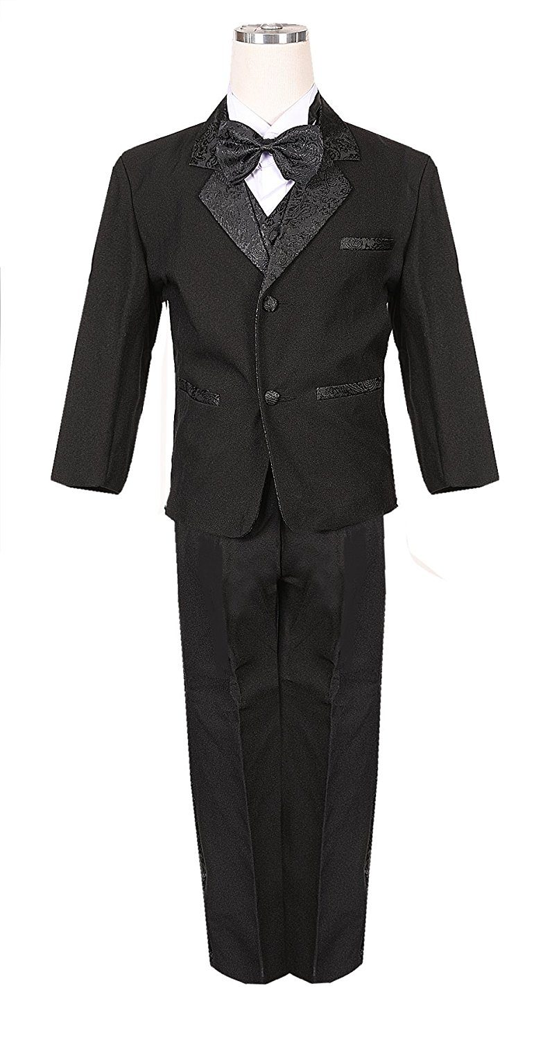 Paisley jacquard Classic Tuxedo Boys Black Formal suit with Bow tie and vest
