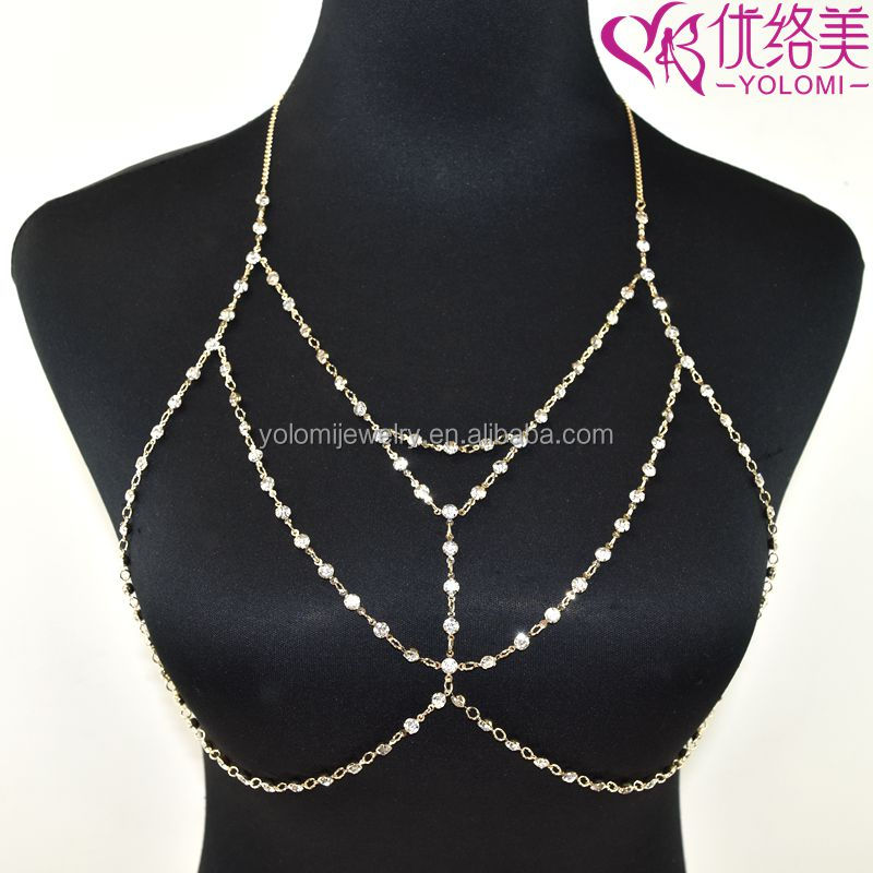 7cd5c14127 Crystal Bra Top Rhinestone Chain Lingerie Bridal Burlesque Diamond Body  Chain Necklace BC0524K