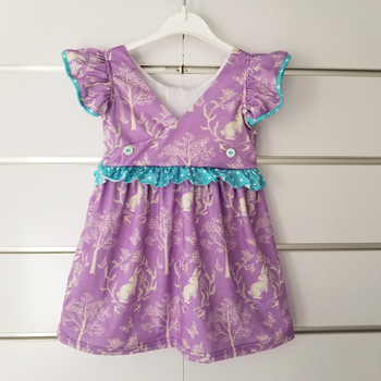 V Collar Halloween Purple Printed Fashion Toddler Girl Dresses Flutter Sleeves Boutique Baby Girl Dresses