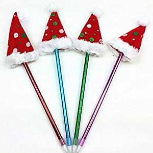 Lanlan 6 Pcs Cute Creative Funny Environmental Protection Funny Ballpoint Pen Kids Christmas Gift Prizes ( Christmas Formal Hat)