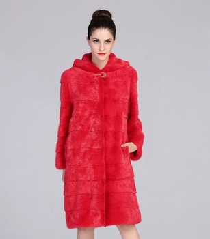 2016 New style fashion red genuine mink fur coat with hood