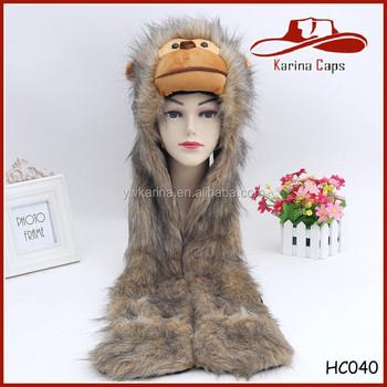 Tiempo Furry imitación de piel de mono estilo Animal Real sombreros de piel  con capucha bufanda f42d38b8778