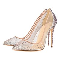 AL-760 Private label glitter rhinestone12cm ladies dress high heel shoes for women wedding shoes