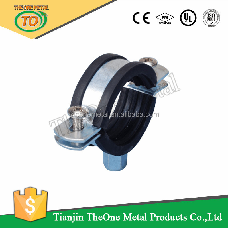 3/8 to 10 inch galvanized heavy duty pipe clamp with rubber cushion