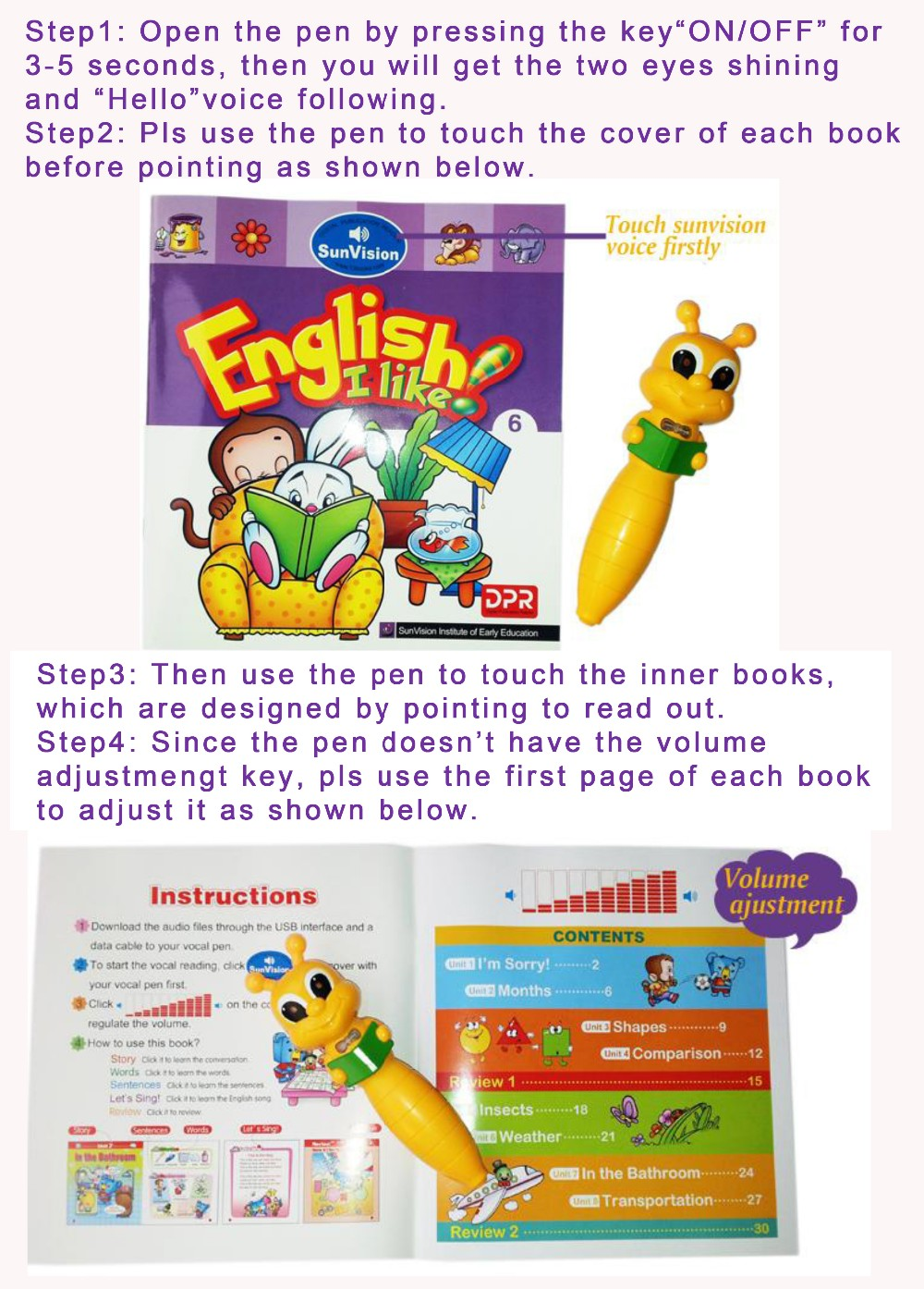 Hot selling and support OEM digita electronicl reading pen with music for kids' learning