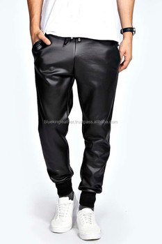 8cf3b318312d Boohoo Men s Sheep Napa Leather Look Skinny Trouser Joggers In Black ...