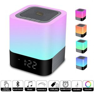 2018 Alarm Clock Night Light Stereo Wireless Speaker With Touch Control LED Light Changing Bedside Lamp