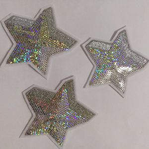 Custom Gold Silvery Star Sequin Embroidery Patches Beads Embroidery Stars Appliques for Clothing