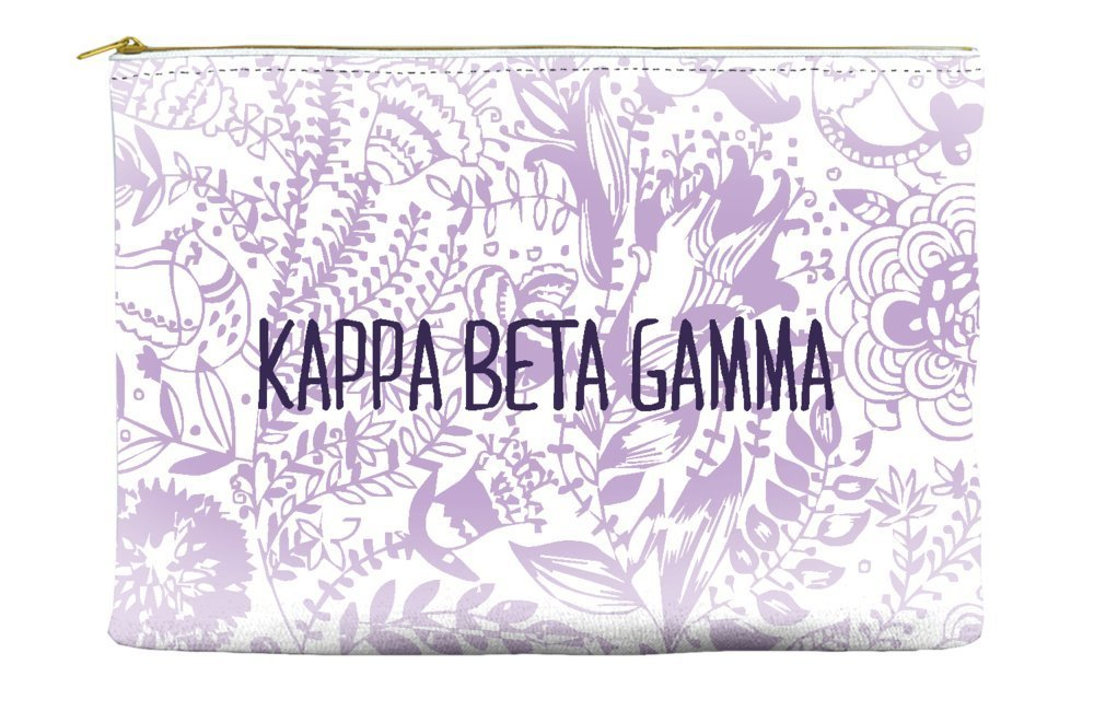 Kappa Beta Gamma Floral Pattern Purple Cosmetic Accessory Pouch Bag for Makeup Jewelry & other Essentials