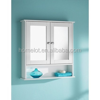White Two Door Bathroom Wall Cabinet With Shelf Mirror