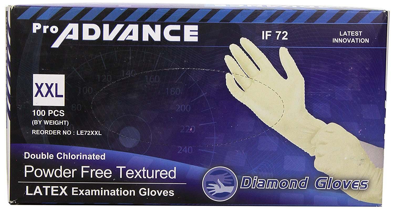 Pro Diamond Gloves Advance Double Chlorinated Powder-Free Textured Latex Examination Gloves, Heavy Duty, XXL, 100 Count