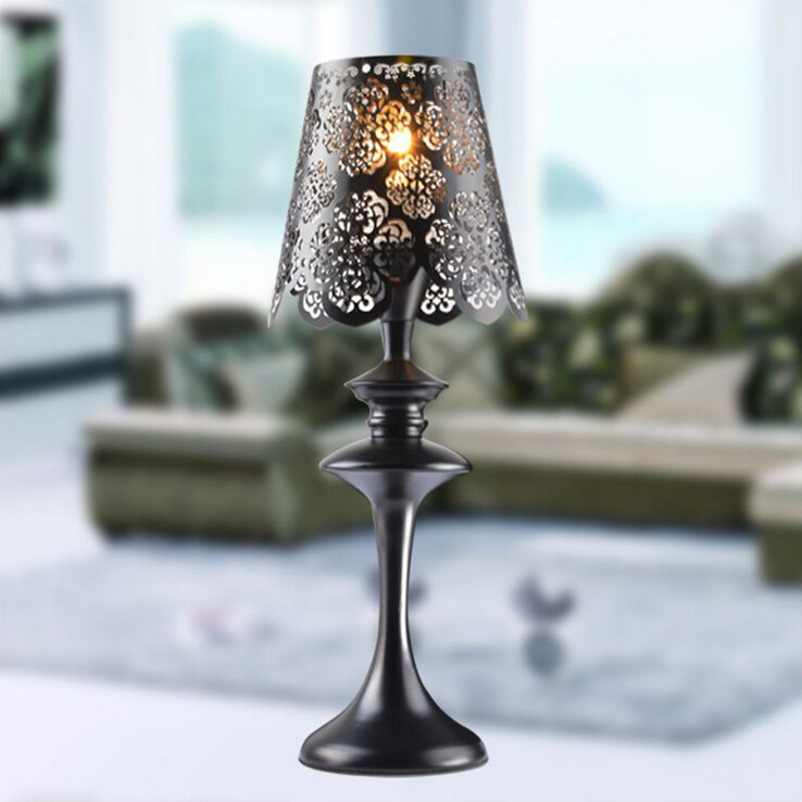 Bedroom Lamps Black: European Wrought Iron Table Lamp Black Lace Lampshade