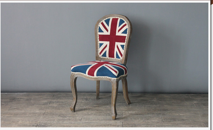 Rch 4073antique Oak Distressed Wood Union Jack Dining Chair