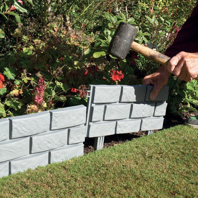 Pack Of 4 Plastic Brick Lawn Garden Edging Buy Garden
