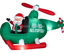 2017 Cheap price custom hotsell inflatable christmas santa in helicopter, Christmas decorations for sale