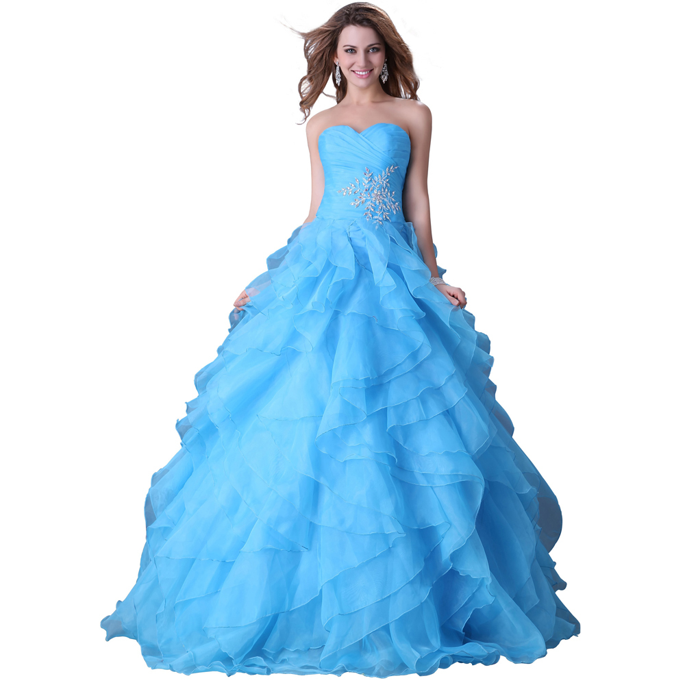 fac97d1bdfd Get Quotations · Free Shipping Captivating Strapless Red Blue Yellow Quinceanera  Dress Long Party Ball Formal Gown Organza Prom