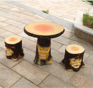 handmade outdoor home decoration human face trunk fiberglass table chair sculpture FSZ-36