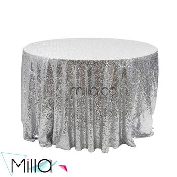 Silver Metallic Sequin Table Cloth