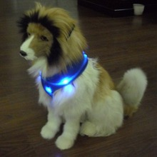 Blue Color LED Lights 2016 Hot Sell at Amazon Dog Vest Harness with Only One ABS Plastic Buckle
