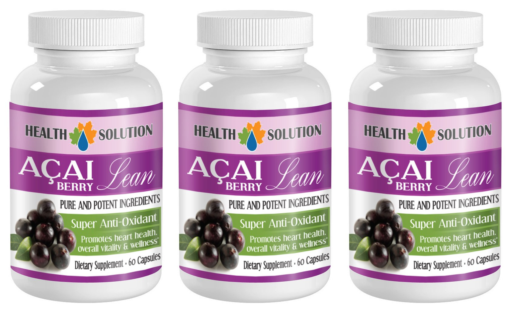 antioxidant complex dietary supplement - ACAI BERRY LEAN - PURE AND POTENT INGREDIENTS - acai supplement - 3 Bottles (180 Capsules)