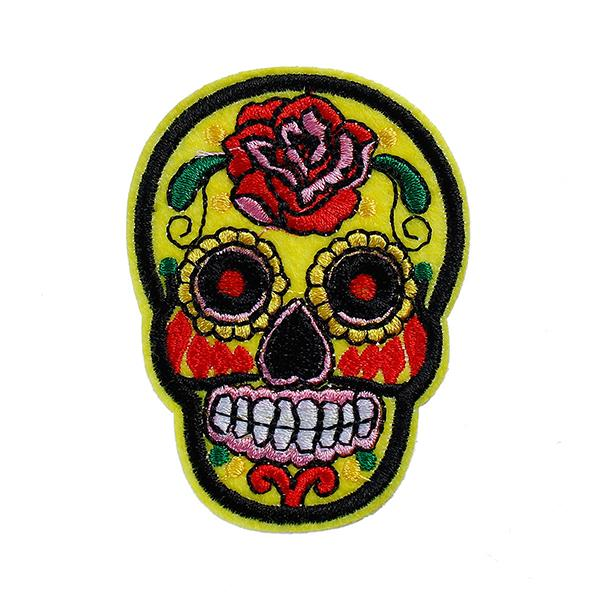 DIY Scrapbooking Craft Sugar Skull Yellow Flower Pattern Polyester Appliques