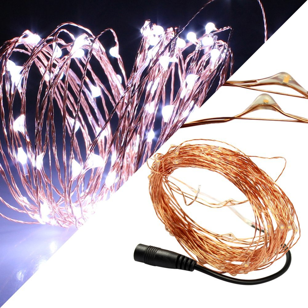 SZMINILED White Led Copper Light 10M 100Leds With Dc12V Female Connect Wire Perfect For Indoor And Outdoor Environments Led Copper Wire Copper Led Light Led String Wire Led Starry Light