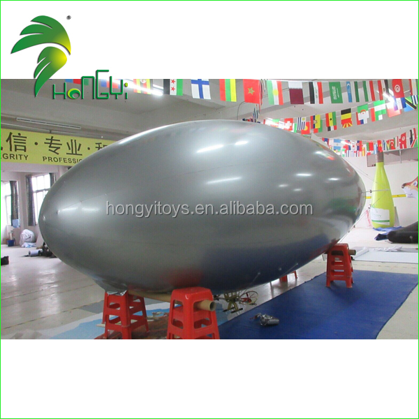 Best Selling Long Silver Custom Make Inflatable RC Blimp / Remote Control Airship Outdoor For sale