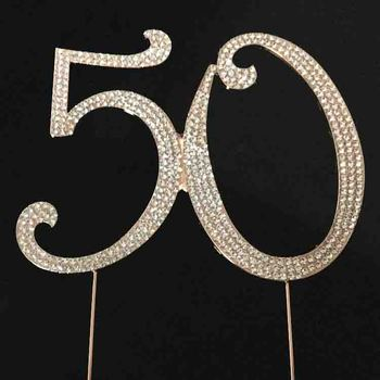 Fashion hot koop Rose gold plating Nummer 50 strass cake topper voor verjaardag decoratie