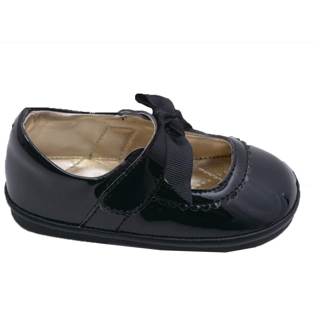 11c9756358c0 Get Quotations · Angel Little Girls Black Grosgrain Bow Velcro Strap Mary  Jane Shoes 4-7 Toddler