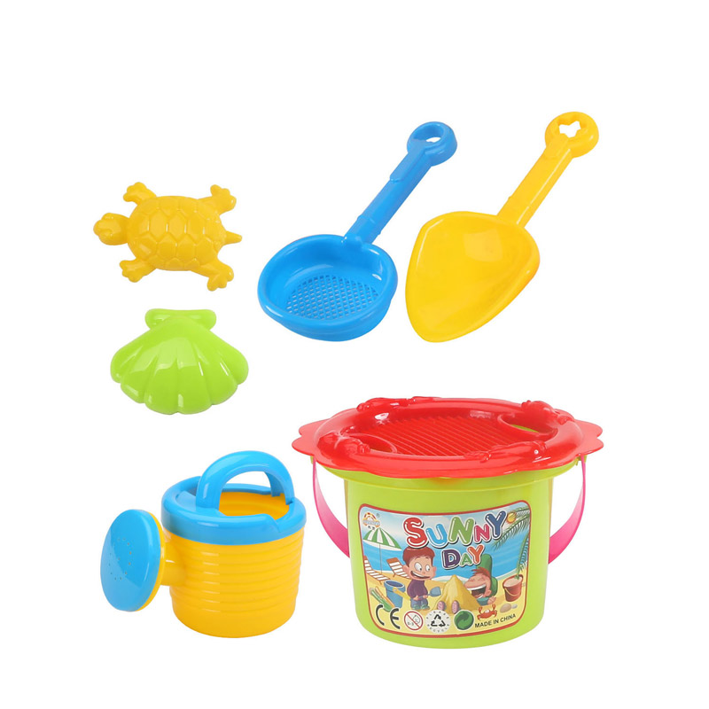 2019 HOT SALE SUMMER TOYS PLASTIC BUCKET BEACH TOYS SET 7PCS