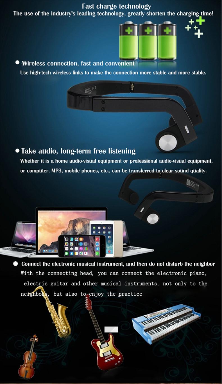 Drahtlose Knochen Leitung Kopfhörer Drahtlose BT Headset Kopfhörer Stereo Musik Mic Hörgeräte Ohr Release für Handy