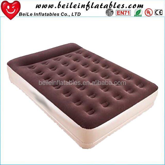 Red Nylon red pool floating mattress and Double size Comfortable PVC Flocked inflatable air <strong>bed</strong>