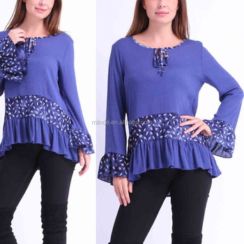 d555b811510b08 Wholesale Women Fashion Long Sleeve Blue Layered Bell-Sleeve Tunic Tops  Dressy Blouses Tops for