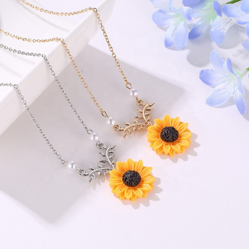 designs artificial <strong>cheap</strong> wholesale sunflower pearl pendant <strong>necklace</strong>
