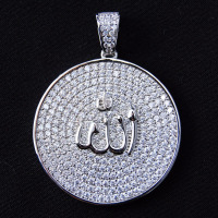 925 sterling silver cz diamond micro pave custom allah om sign pendant