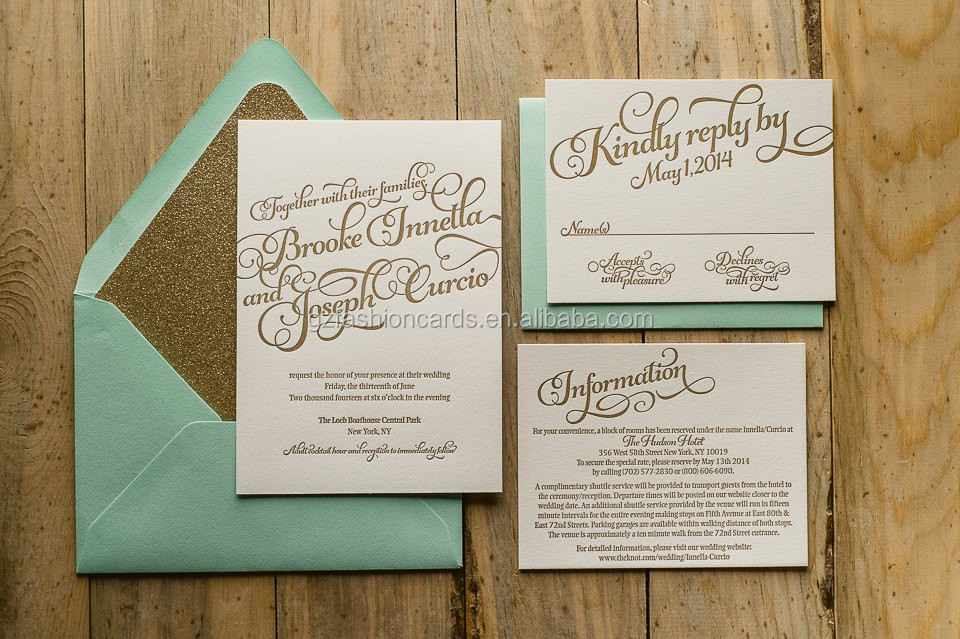 mint gold wedding invitations gold glitter invitations calligraphy invitation - Mint And Gold Wedding Invitations