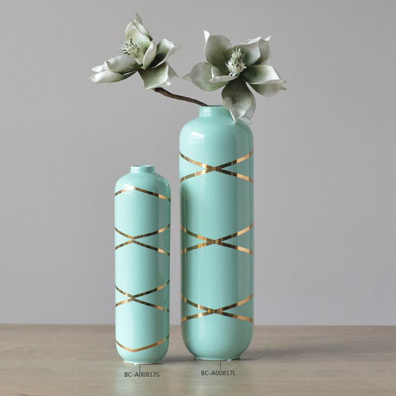 Indoor Design Glazed Decoration Vaseceramic Vase With Gold Stripe