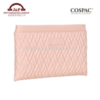 Light Pink Color Quilted PU Leather Flat Zipper Cosmetic Bag Sell Online