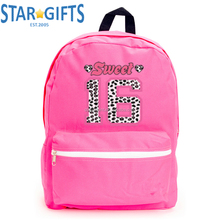 Pink Multi-function Top Quality 600D Polyester Bagpack Wholesale Women Girls Custom Backpacks