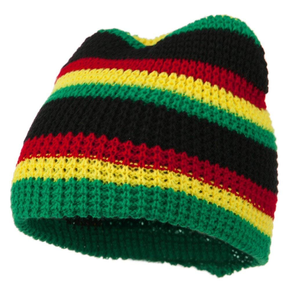 Get Quotations · Waffle Rasta Patterned Beanie - Green Multi af66622a4327