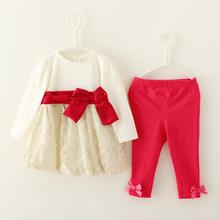Moda roupas de menina 2 PC rendas roupas terno, Meninas Patchwork vestido calça arco princesa crianças infantil roupas de outono