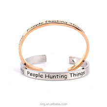Supernatural Bracelet Saving People Hunting Things Letters Open Stacking Bracelets&Bangles for Women Men Lover Couple Bangle