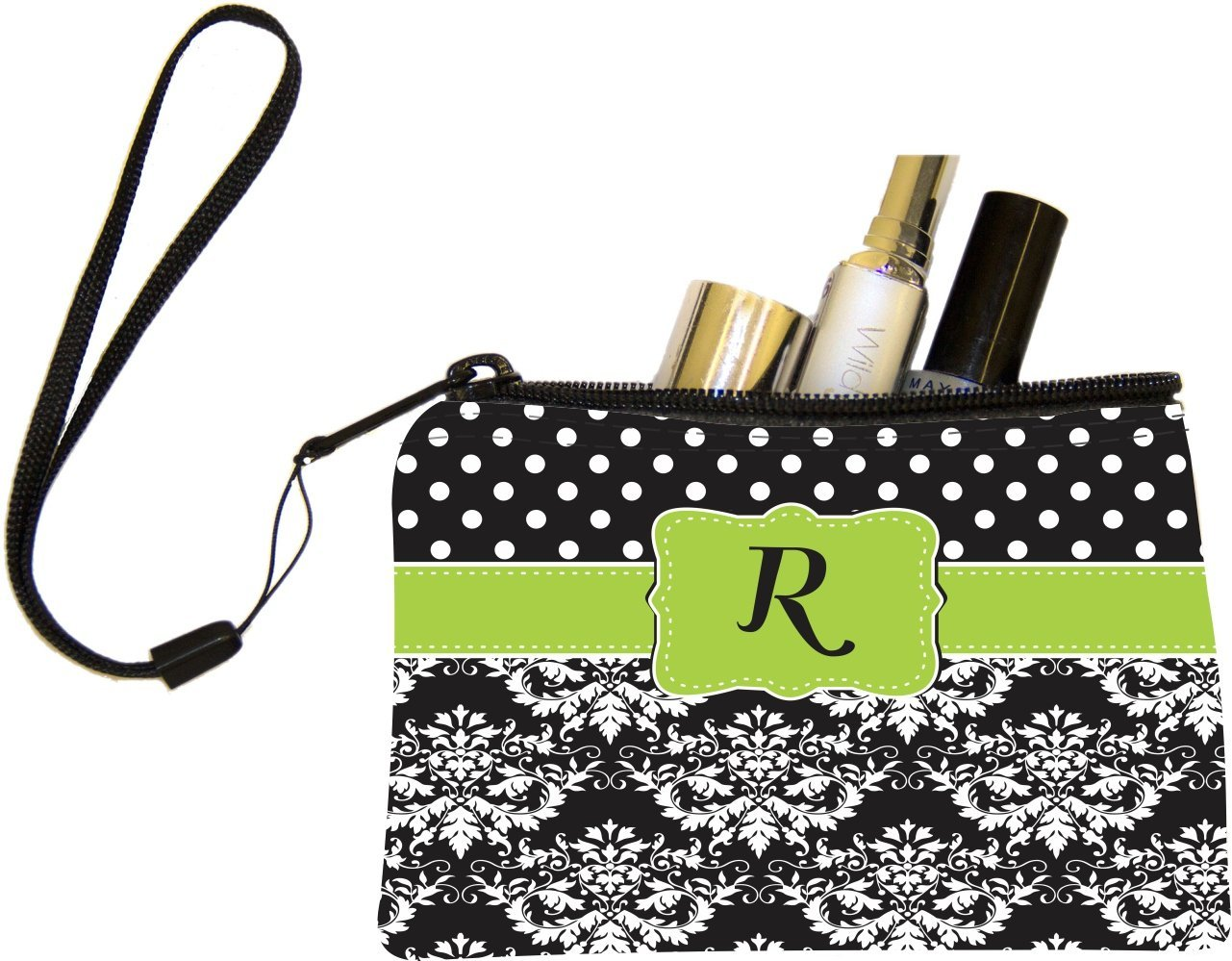 Rikki Knight InitialR Lime Green Black Damask Dots Design Messenger School Bag mbcp-cond44512