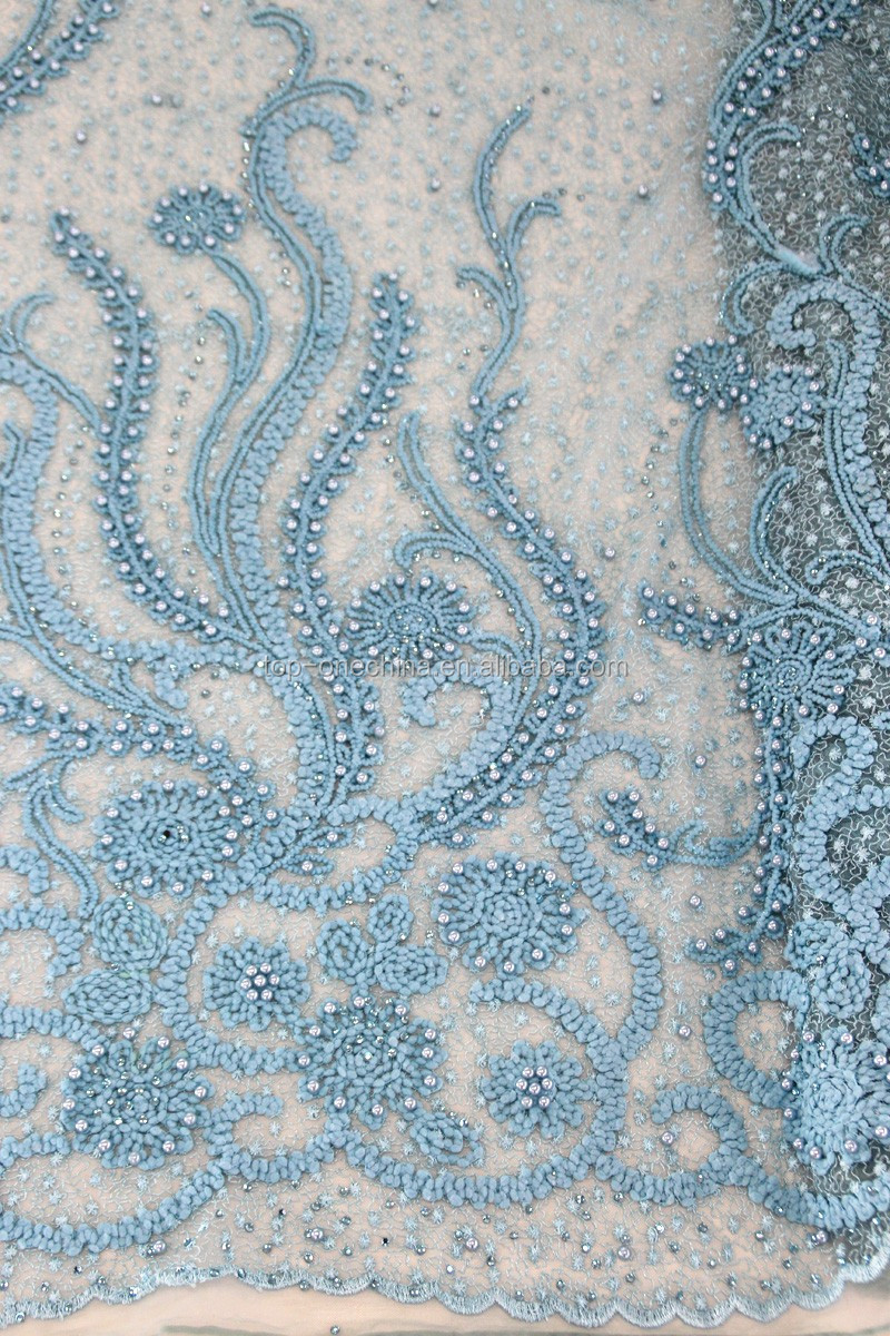 China suppliers 3d beaded lace fabric/french beaded lace fabric/3d ...