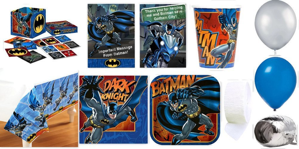 Batman Party Supplies for 16 Party Pack Includes Table Cover, Cups, Napkins, Plates, Invitations, Thank You Postcards, Scavenger Hunt Game, Streamer, Curling Ribbon, & Balloons - Bundle Has 150 Pieces