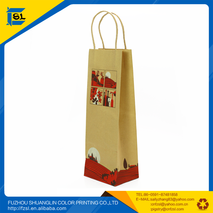 PWBSL1711 eco-friendly brown kraft paper wine bags for one bottle